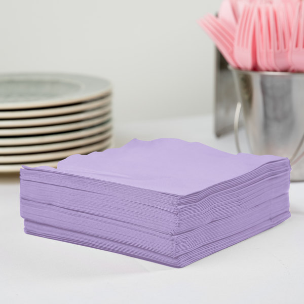 Creative Converting 58193B Luscious Lavender Purple 3-Ply 1/4 Fold Luncheon Napkin - 500/Case Main Image 2