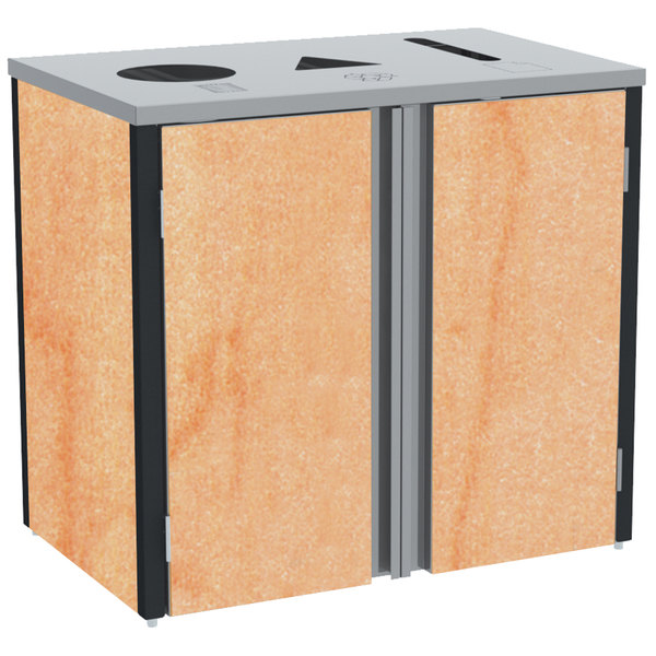 """Lakeside 3415HRM Stainless Steel Refuse / Recycle / Paper Station with Top Access and Hard Rock Maple Laminate Finish - 37 1/2"""" x 23 1/4"""" x 34 1/2"""""""