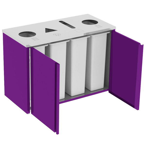 "Lakeside 3418P Stainless Steel Refuse (2) / Recycle / Paper Station with Top Access and Purple Laminate Finish - 48 1/2"" x 23 1/4"" x 34 1/2"" Main Image 1"