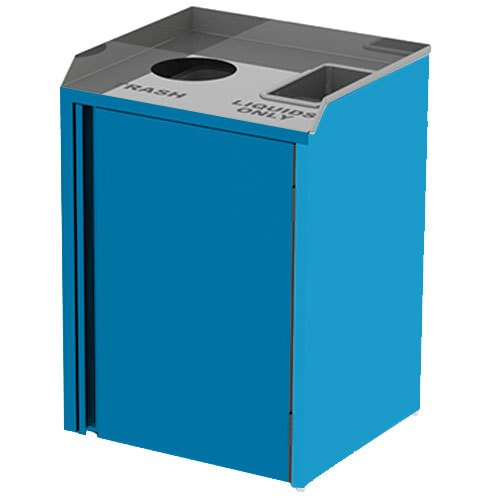 """Lakeside 3420BL Stainless Steel Liquid / Cup Refuse Station with Top Access and Royal Blue Laminate Finish - 26 1/2"""" x 23 1/4"""" x 34 1/2"""""""
