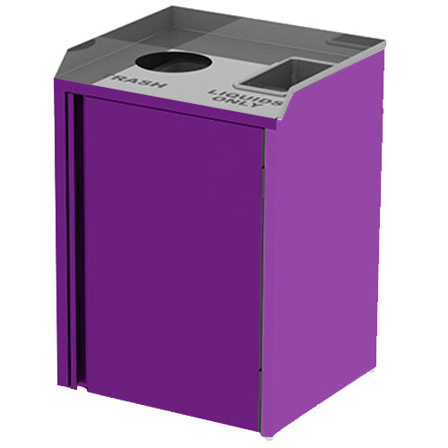 "Lakeside 3420P Stainless Steel Liquid / Cup Refuse Station with Top Access and Purple Laminate Finish - 26 1/2"" x 23 1/4"" x 34 1/2"""