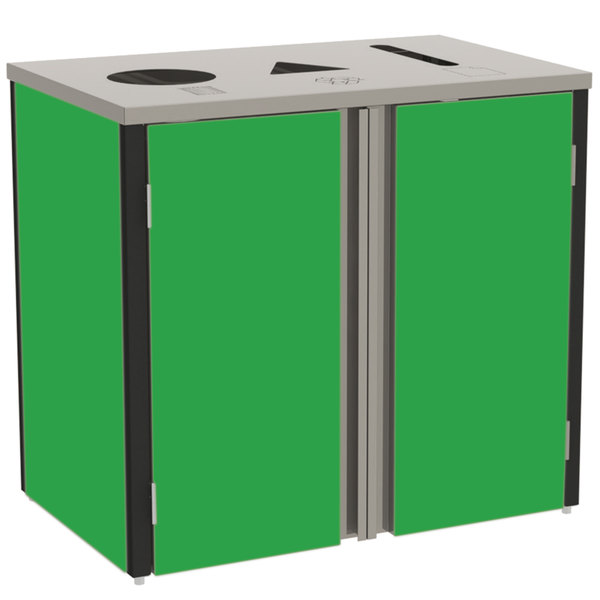 """Lakeside 3415G Stainless Steel Rectangular Refuse / Recycle / Paper Station with Top Access and Green Laminate Finish - 37 1/2"""" x 23 1/4"""" x 34 1/2"""" Main Image 1"""