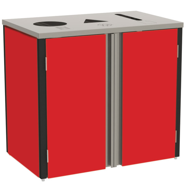 "Lakeside 3415 Stainless Steel Refuse / Recycle / Paper Station with Top Access and Red Laminate Finish - 37 1/2"" x 23 1/4"" x 34 1/2"""