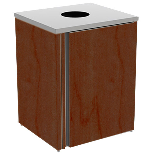 """Lakeside 3410 Stainless Steel Refuse Station with Top Access and Red Maple Laminate Finish - 26 1/2"""" x 23 1/4"""" x 34 1/2"""""""