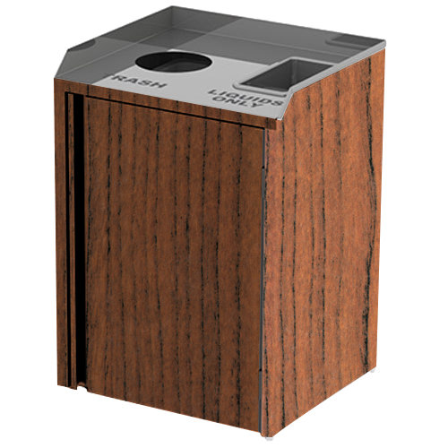 """Lakeside 3420 Stainless Steel Liquid / Cup Refuse Station with Top Access and Victorian Cherry Laminate Finish - 26 1/2"""" x 23 1/4"""" x 34 1/2"""""""