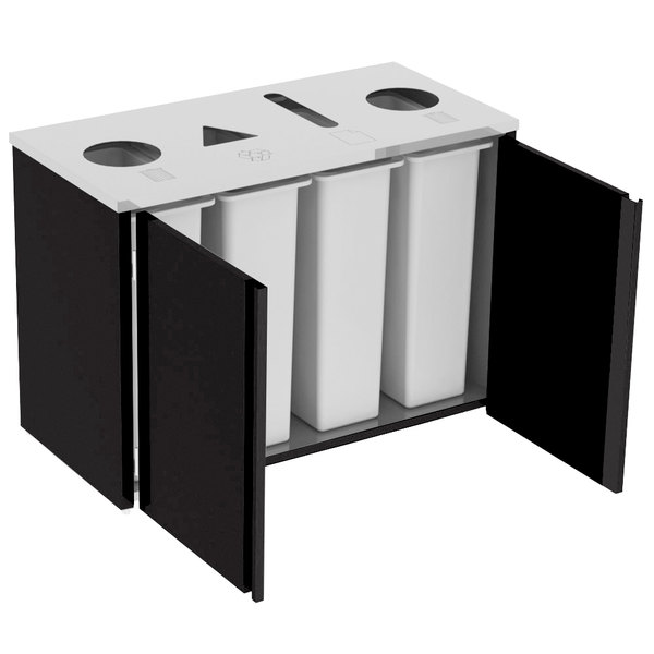 """Lakeside 3418B Stainless Steel Rectangular Refuse (2) / Recycle / Paper Station with Top Access and Black Laminate Finish - 48 1/2"""" x 23 1/4"""" x 34 1/2"""" Main Image 1"""
