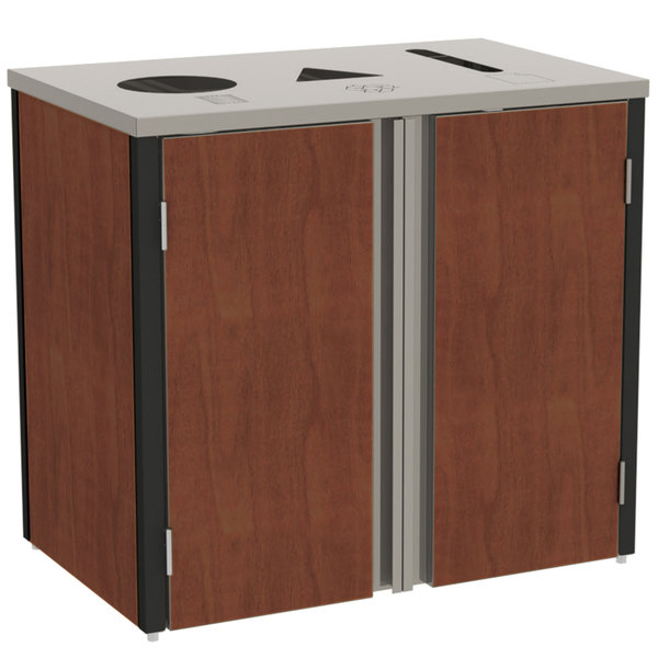 "Lakeside 3415RM Stainless Steel Refuse / Recycle / Paper Station with Top Access and Red Maple Laminate Finish - 37 1/2"" x 23 1/4"" x 34 1/2"""