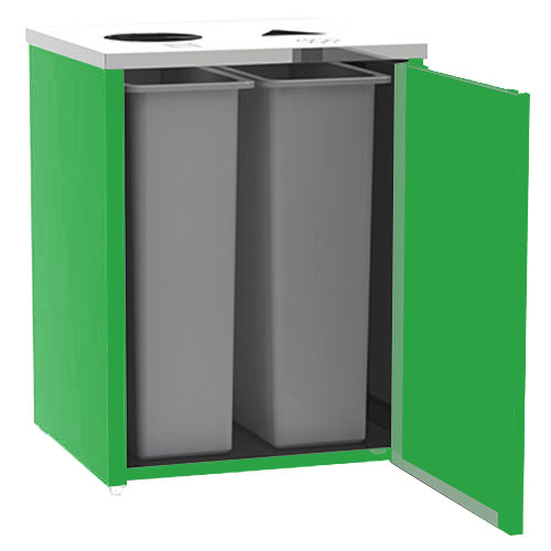 """Lakeside 3412 Stainless Steel Refuse / Recycling Station with Top Access and Green Laminate Finish - 26 1/2"""" x 23 1/4"""" x 34 1/2"""""""