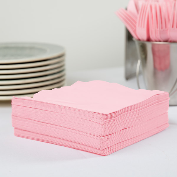 Creative Converting 58158B Classic Pink 3-Ply 1/4 Fold Luncheon Napkin - 500/Case Main Image 2