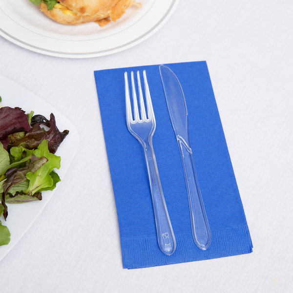 Creative Converting 953147 Cobalt Blue 3-Ply Guest Towel / Buffet Napkin - 192/Case Main Image 2
