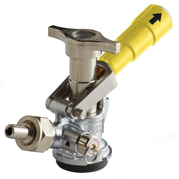"""Micro Matic 7485BB-G """"D"""" System Beer Keg Coupler with Yellow Lever Handle Main Image 1"""