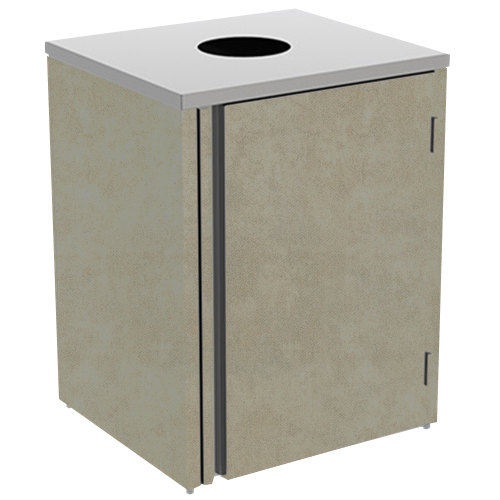 "Lakeside 3410 Stainless Steel Refuse Station with Top Access and Beige Suede Laminate Finish - 26 1/2"" x 23 1/4"" x 34 1/2"""