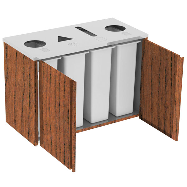 "Lakeside 3418VC Stainless Steel Refuse (2) / Recycle / Paper Station with Top Access and Victorian Cherry Laminate Finish - 48 1/2"" x 23 1/4"" x 34 1/2"" Main Image 1"