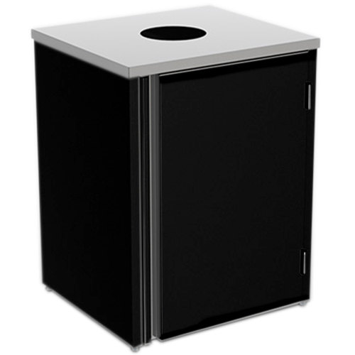 """Lakeside 3410 Stainless Steel Refuse Station with Top Access and Black Laminate Finish - 26 1/2"""" x 23 1/4"""" x 34 1/2"""""""
