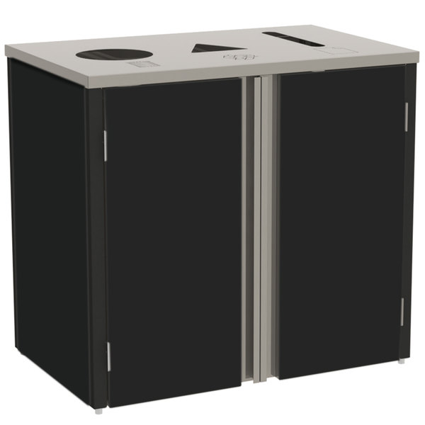 """Lakeside 3415 Stainless Steel Refuse / Recycle / Paper Station with Top Access and Black Laminate Finish - 37 1/2"""" x 23 1/4"""" x 34 1/2"""""""