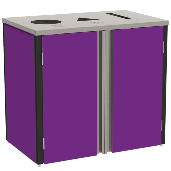 """Lakeside 3415 Stainless Steel Refuse / Recycle / Paper Station with Top Access and Purple Laminate Finish - 37 1/2"""" x 23 1/4"""" x 34 1/2"""""""