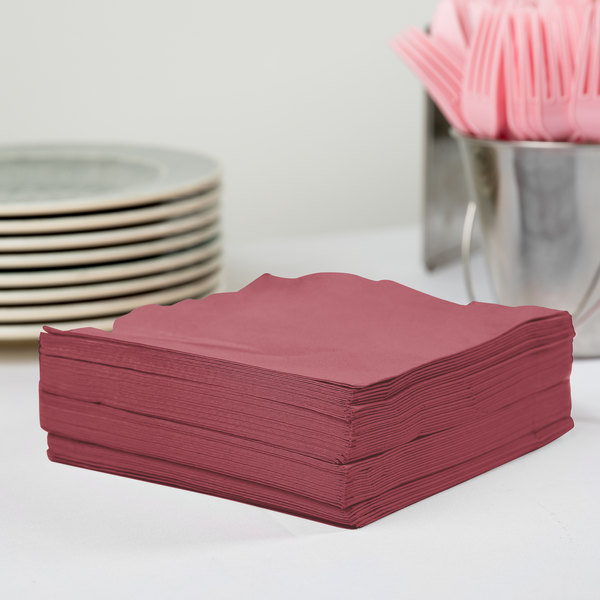 Creative Converting 583122B Burgundy 3-Ply 1/4 Fold Luncheon Napkin - 500/Case Main Image 2