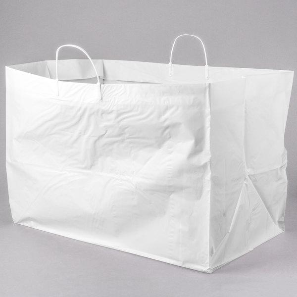 "22"" x 14"" x 15"" White Rigid Plastic Handled Shopper Bag - 50/Case Main Image 1"
