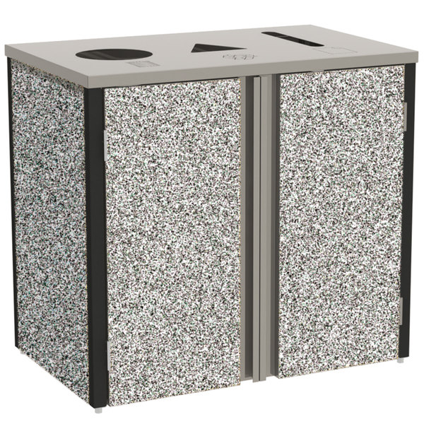 """Lakeside 3415GS Stainless Steel Rectangular Refuse / Recycle / Paper Station with Top Access and Gray Sand Laminate Finish - 37 1/2"""" x 23 1/4"""" x 34 1/2"""" Main Image 1"""