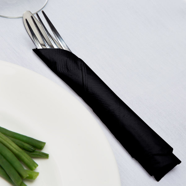 Creative Converting 58134B Black Velvet 3-Ply 1/4 Fold Luncheon Napkin - 500/Case Main Image 3