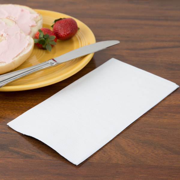 Creative Converting 95000 White 3-Ply Guest Towel / Buffet Napkin - 192/Case Main Image 2