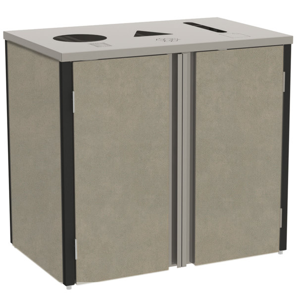 "Lakeside 3415 Stainless Steel Refuse / Recycle / Paper Station with Top Access and Beige Suede Laminate Finish - 37 1/2"" x 23 1/4"" x 34 1/2"""