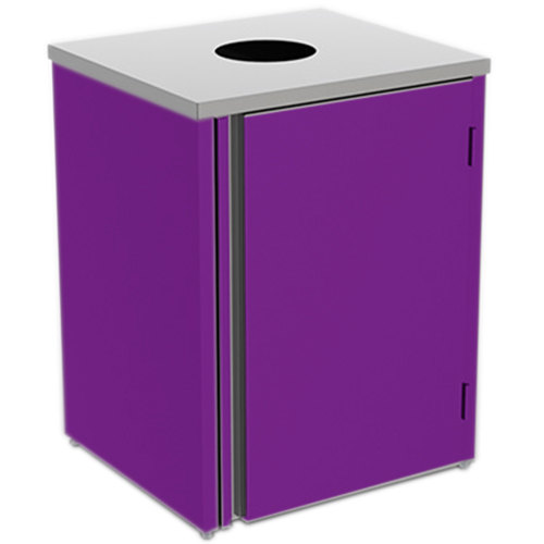 "Lakeside 3410P Stainless Steel Refuse Station with Top Access and Purple Laminate Finish - 26 1/2"" x 23 1/4"" x 34 1/2"""
