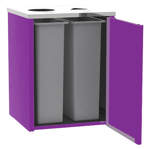 "Lakeside 3412 Stainless Steel Refuse / Recycling Station with Top Access and Purple Laminate Finish - 26 1/2"" x 23 1/4"" x 34 1/2"""