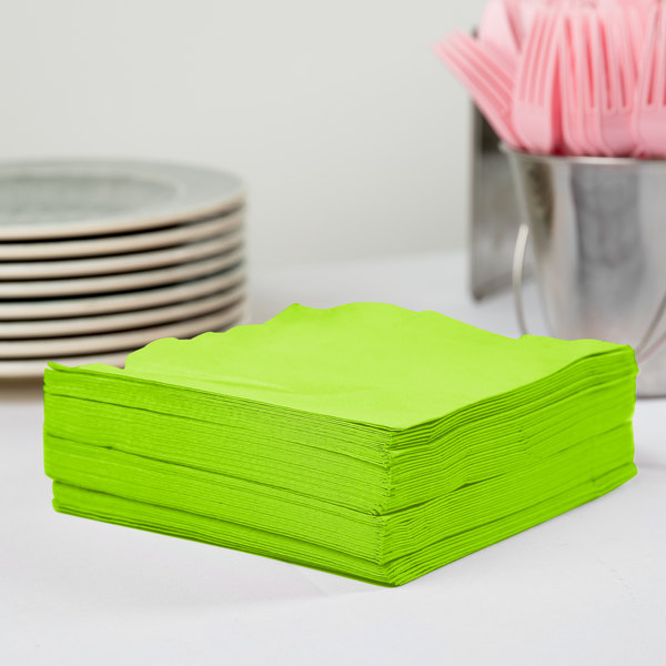 Creative Converting 583123B Fresh Lime Green 3-Ply 1/4 Fold Luncheon Napkin - 500/Case