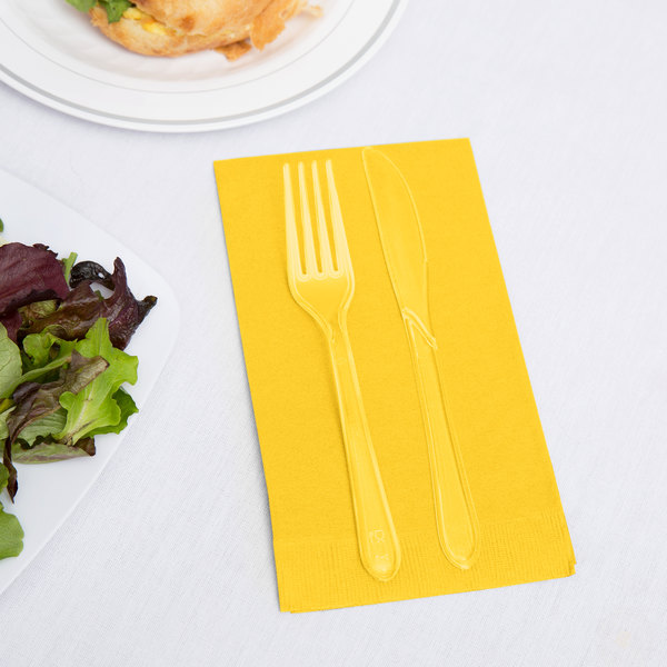 Creative Converting 951021 School Bus Yellow 3-Ply Guest Towel / Buffet Napkin - 192/Case