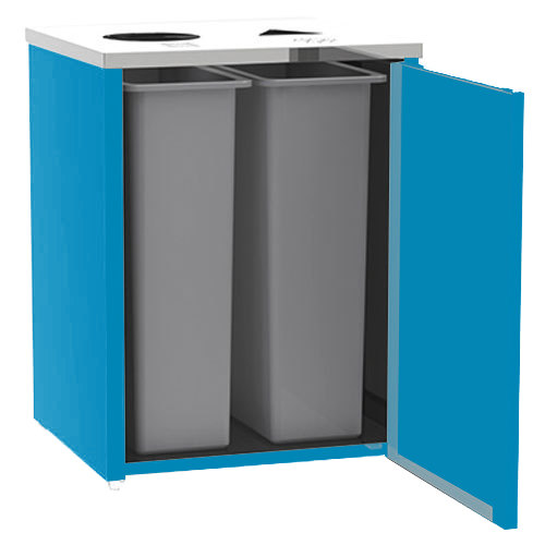 """Lakeside 3412 Stainless Steel Refuse / Recycling Station with Top Access and Royal Blue Laminate Finish - 26 1/2"""" x 23 1/4"""" x 34 1/2"""""""
