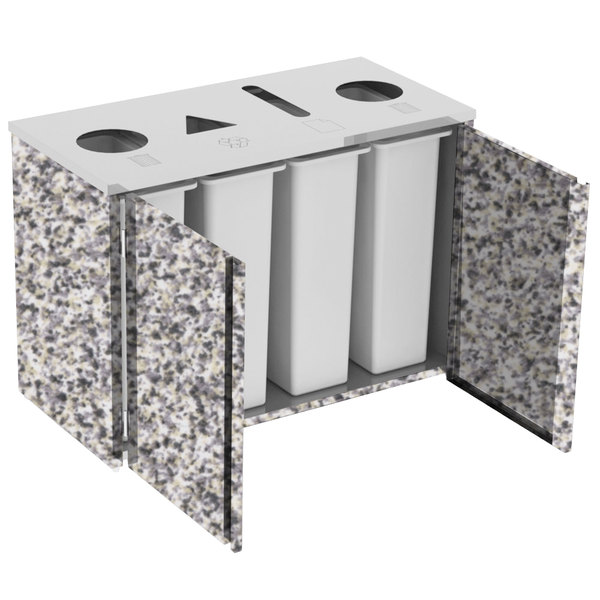 "Lakeside 3418 Stainless Steel Refuse (2) / Recycle / Paper Station with Top Access and Gray Sand Laminate Finish - 48 1/2"" x 23 1/4"" x 34 1/2"""