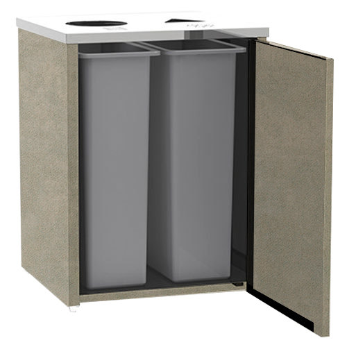 """Lakeside 3412 Stainless Steel Refuse / Recycling Station with Top Access and Beige Suede Laminate Finish - 26 1/2"""" x 23 1/4"""" x 34 1/2"""""""