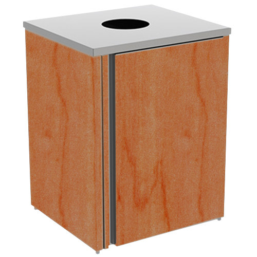 "Lakeside 3410 Stainless Steel Refuse Station with Top Access and Victorian Cherry Laminate Finish - 26 1/2"" x 23 1/4"" x 34 1/2"""