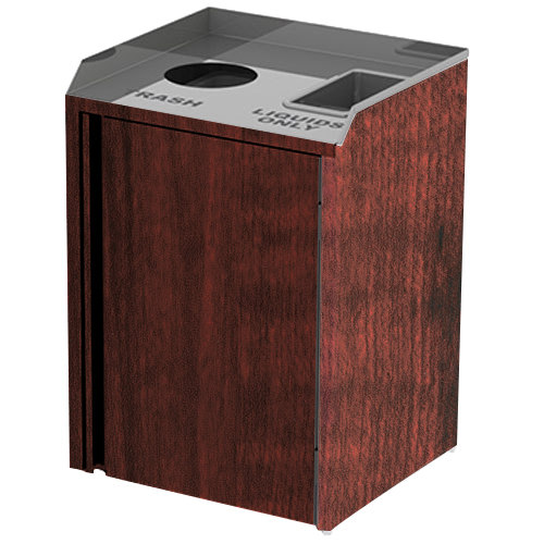 "Lakeside 3420RM Stainless Steel Liquid / Cup Refuse Station with Top Access and Red Maple Laminate Finish - 26 1/2"" x 23 1/4"" x 34 1/2"" Main Image 1"