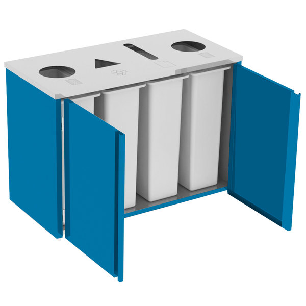 "Lakeside 3418BL Stainless Steel Refuse (2) / Recycle / Paper Station with Top Access and Royal Blue Laminate Finish - 48 1/2"" x 23 1/4"" x 34 1/2"" Main Image 1"