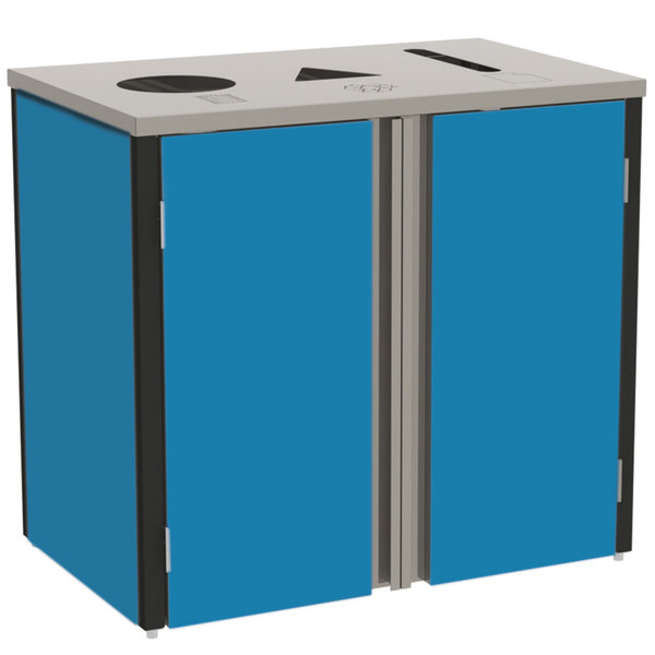 """Lakeside 3415BL Stainless Steel Refuse / Recycle / Paper Station with Top Access and Royal Blue Laminate Finish - 37 1/2"""" x 23 1/4"""" x 34 1/2"""" Main Image 1"""