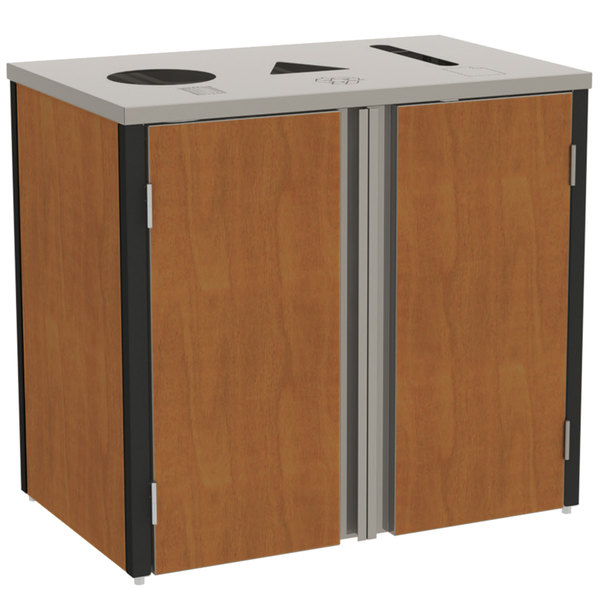 "Lakeside 3415 Stainless Steel Refuse / Recycle / Paper Station with Top Access and Victorian Cherry Laminate Finish - 37 1/2"" x 23 1/4"" x 34 1/2"""