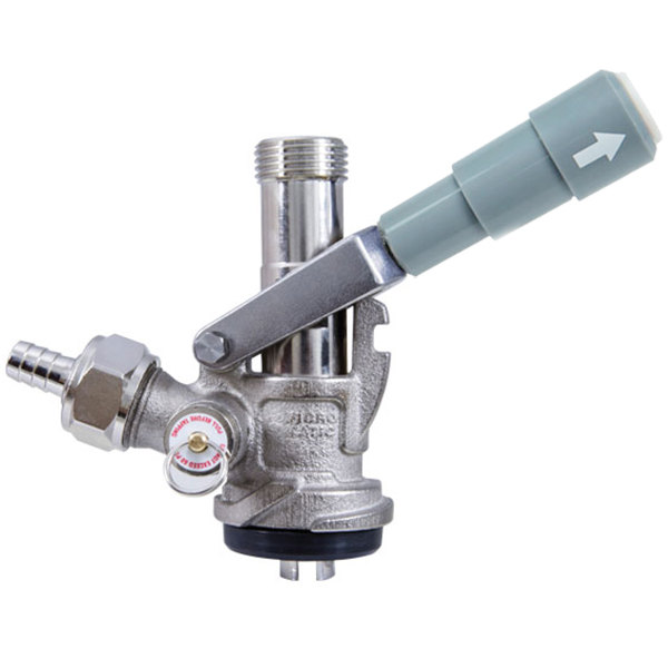 "Micro Matic 7486SS ""S"" System Type 304 Stainless Steel Beer Keg Coupler with Gray Handle"