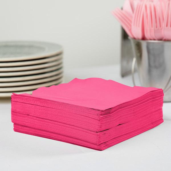 Creative Converting 58177B Hot Magenta Pink 3-Ply 1/4 Fold Luncheon Napkin - 500/Case Main Image 2