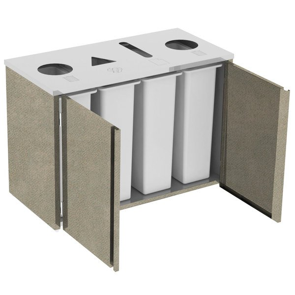 "Lakeside 3418BS Stainless Steel Refuse (2) / Recycle / Paper Station with Top Access and Beige Suede Laminate Finish - 48 1/2"" x 23 1/4"" x 34 1/2"""