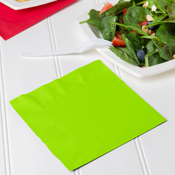 Creative Converting 663123B Fresh Lime Green 2-Ply 1/4 Fold Luncheon Napkin - 600/Case Main Image 3