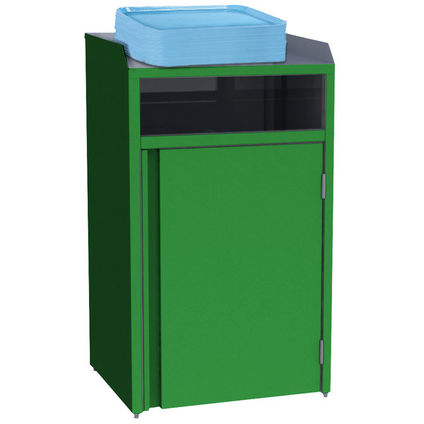"""Lakeside 4410G Stainless Steel Refuse Station with Front Access and Green Laminate Finish - 26 1/2"""" x 23 1/4"""" x 45 1/2"""""""