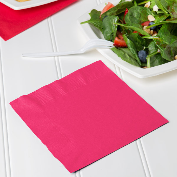 Creative Converting 139197135 Hot Magenta Pink 2-Ply 1/4 Fold Luncheon Napkin - 600/Case Main Image 3
