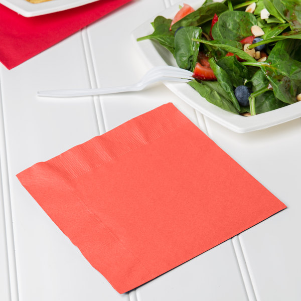 Creative Converting 663146B Coral Orange 2-Ply 1/4 Fold Luncheon Napkin - 600/Case Main Image 3