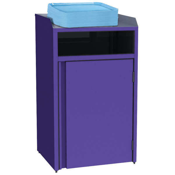 "Lakeside 4410 Stainless Steel Refuse Station with Front Access and Purple Laminate Finish - 26 1/2"" x 23 1/4"" x 45 1/2"""