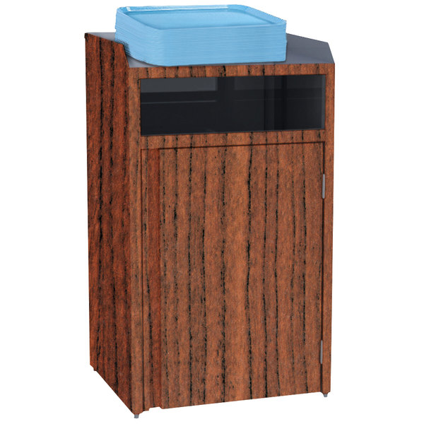"Lakeside 4410VC Stainless Steel Refuse Station with Front Access and Victorian Cherry Laminate Finish - 26 1/2"" x 23 1/4"" x 45 1/2"""
