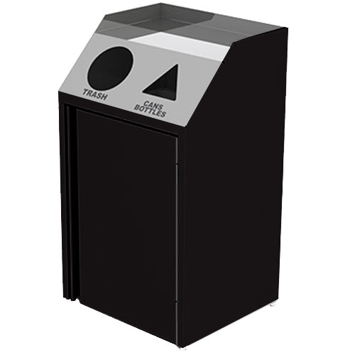 "Lakeside 4412 Stainless Steel Refuse / Recycling Station with Front Access and Black Laminate Finish - 26 1/2"" x 23 1/4"" x 45 1/2"""