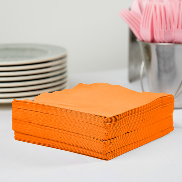 Creative Converting 58191B Sunkissed Orange 3-Ply 1/4 Fold Luncheon Napkin - 500/Case Main Image 2