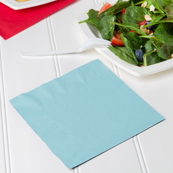 Creative Converting 139179135 Pastel Blue 2-Ply 1/4 Fold Luncheon Napkin - 600/Case Main Image 3